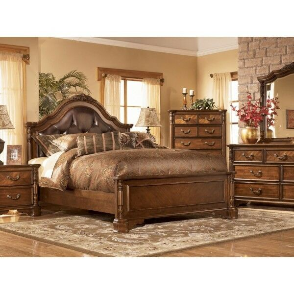 ASHLEY SAN MARTIN Elegant Wood W/Leather KING Bedroom SET