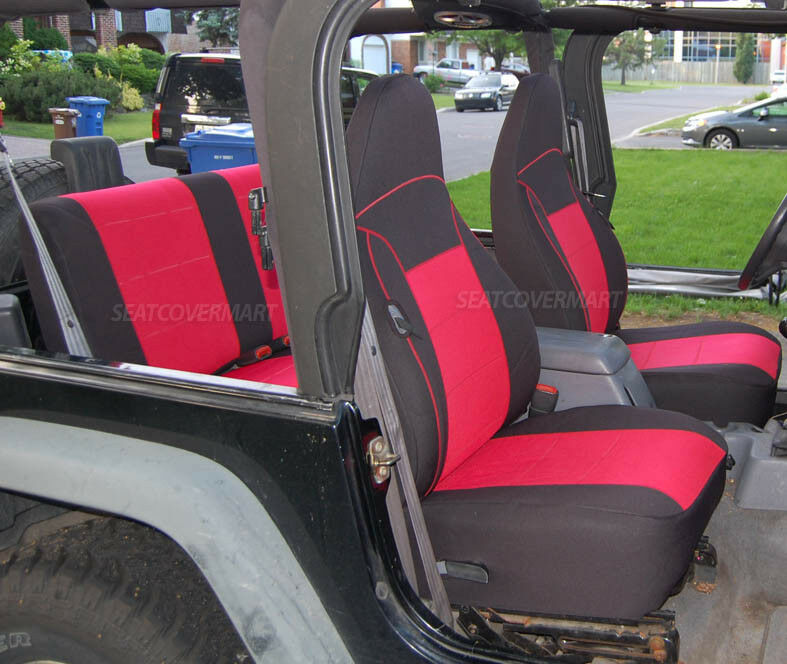 Jeep Tj Parts >> Custom Neoprene Seat Cover Full Set Rubicon Sahara Red TJ 97-02 Jeep Wrangler | eBay