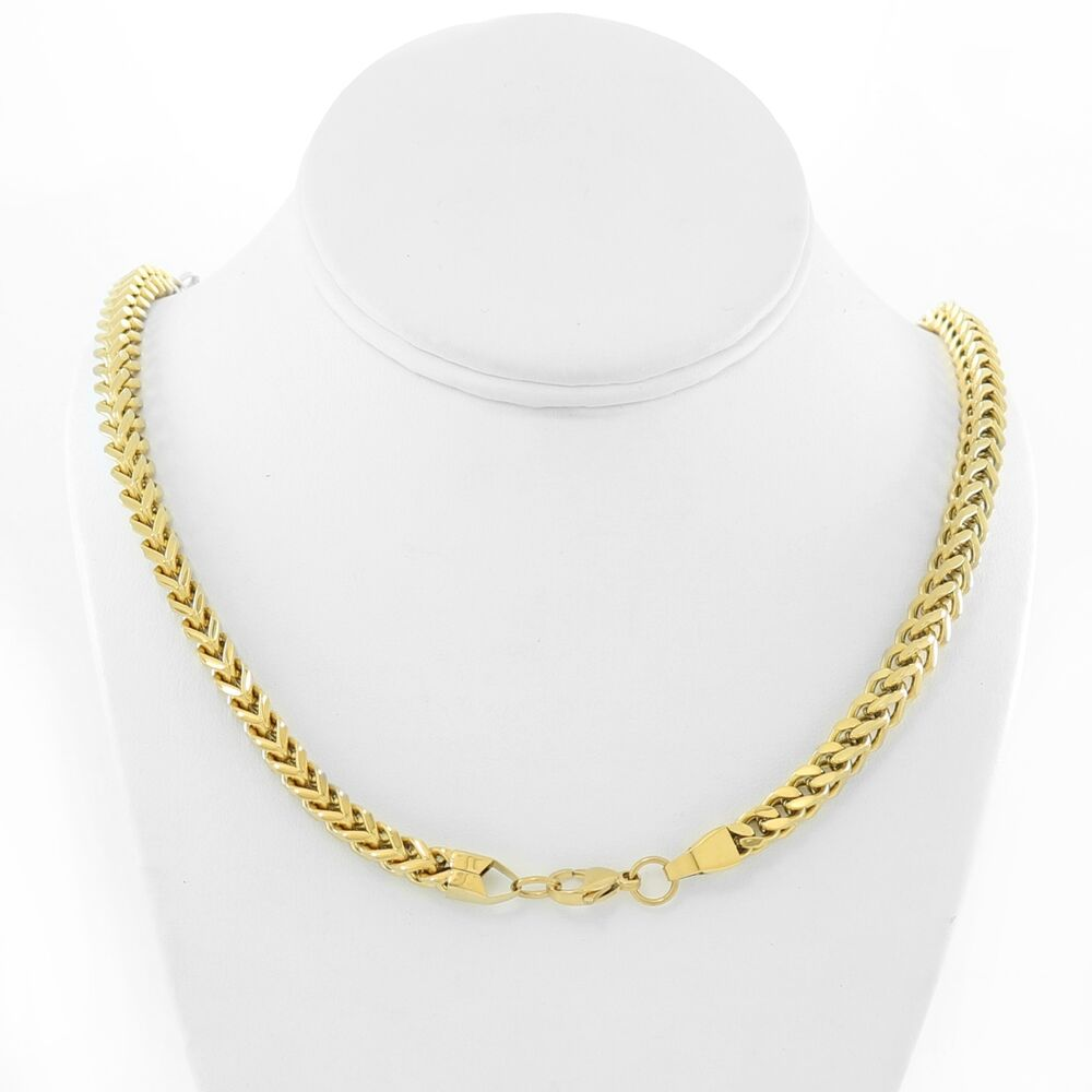 18k Gold Plated Stainless Steel Franco Box Chain Necklace