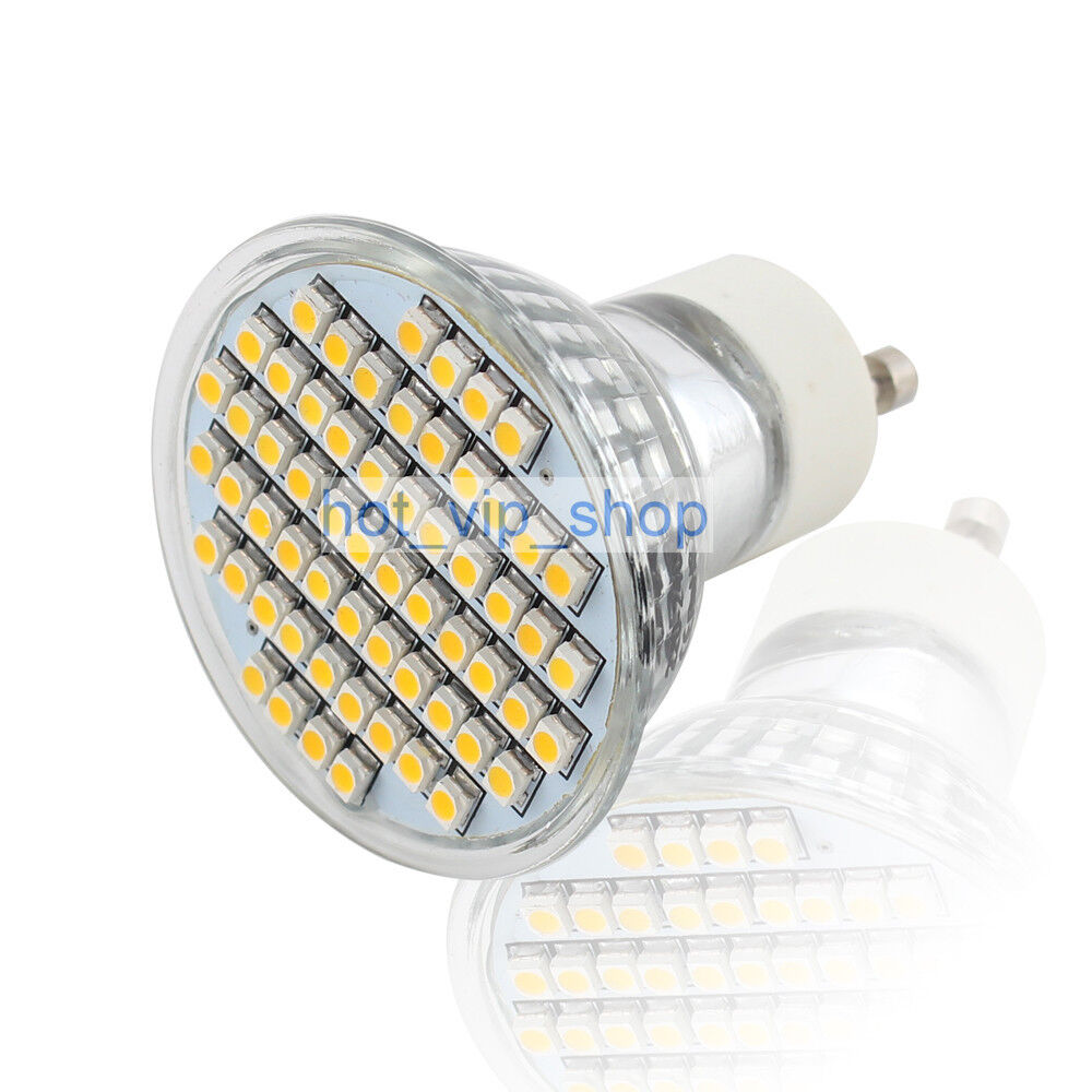 gu10 warm white 60 smd 3528 led spot light spotlight bulb lamp 230v 3w ebay. Black Bedroom Furniture Sets. Home Design Ideas
