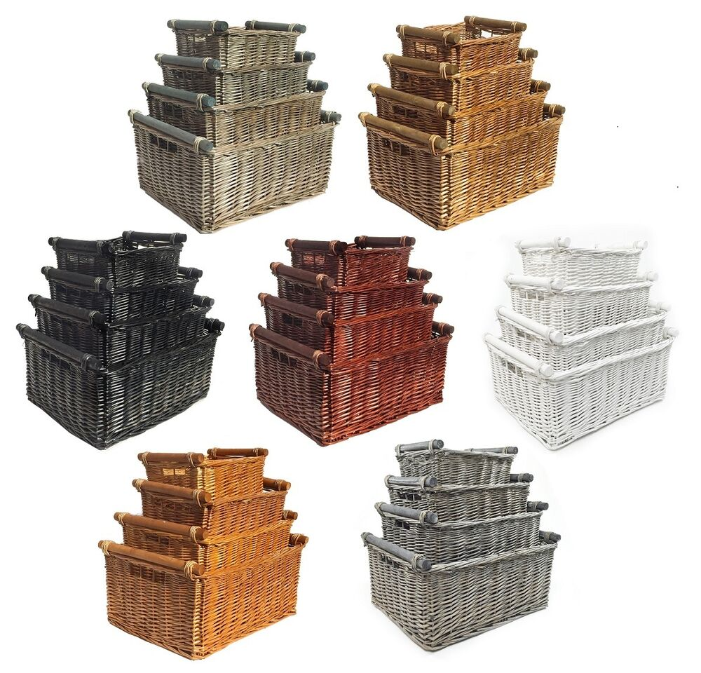 Empty Wicker Gift Baskets : Kitchen log full wicker storage baskets with handles xmas