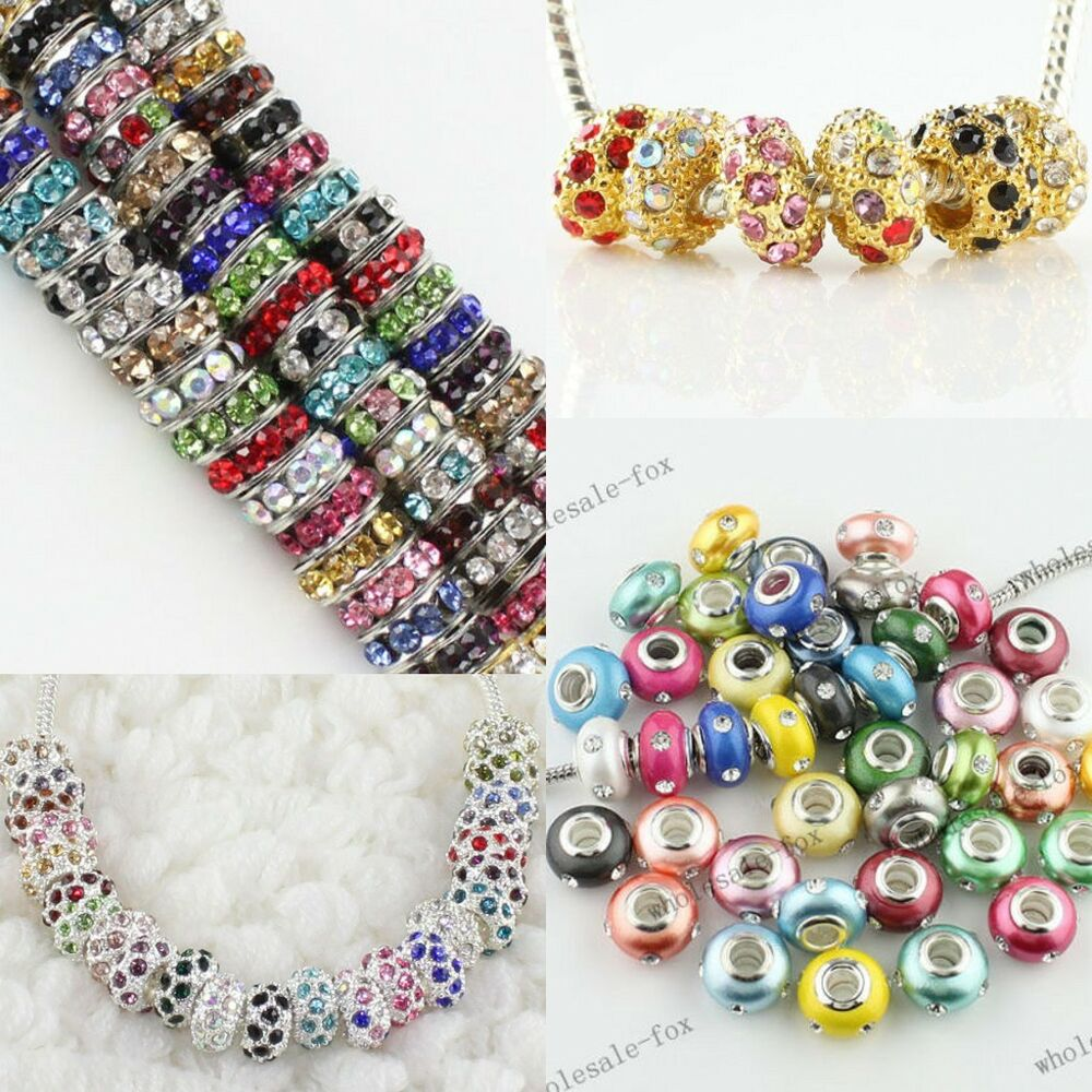 Spacer loose big hole charm beads findings fit charms bracelets ebay