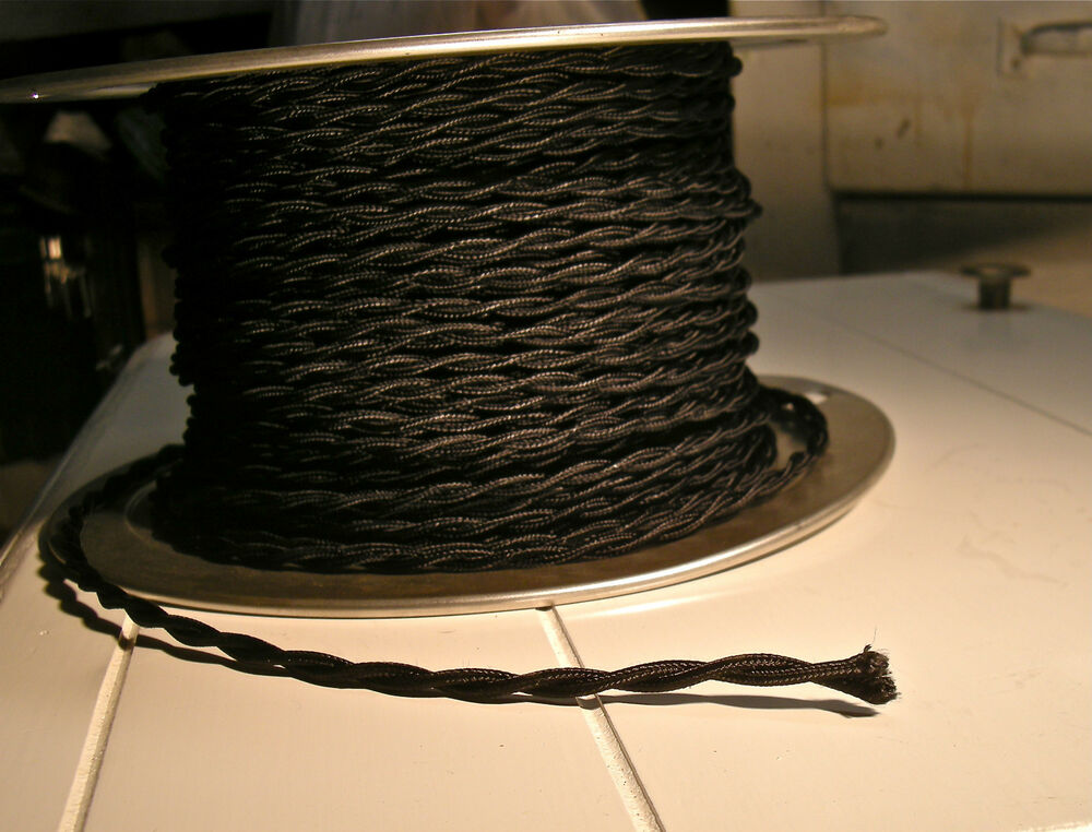 twisted rayon cloth covered wire vintage style lamp light cord ebay. Black Bedroom Furniture Sets. Home Design Ideas