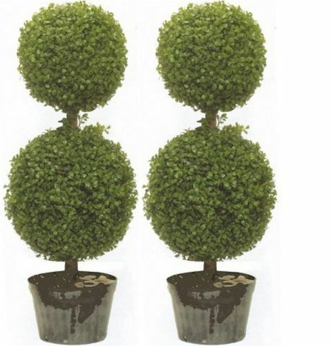 2 Artificial 34 Quot Topiary Tree Boxwood 2 Ball Outdoor Plant