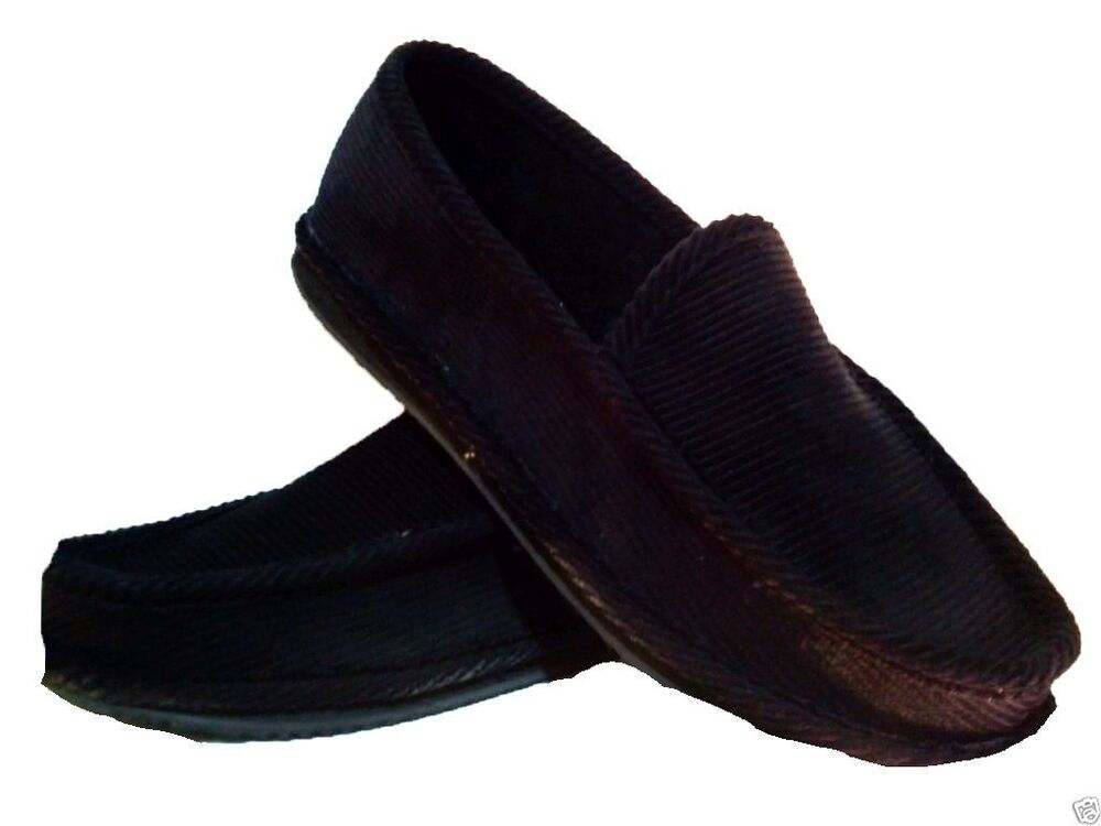 black corduroy house shoes slippers trooper brand new size