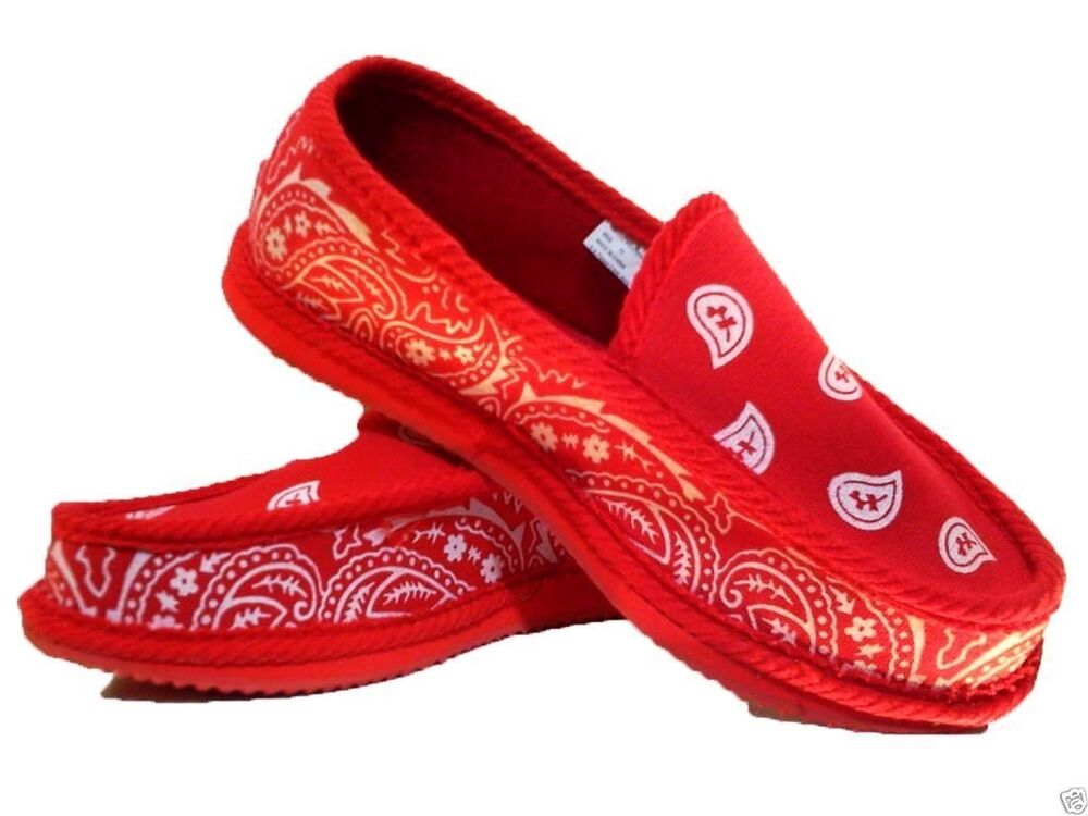 Red Rag Bloods: RED BANDANA HOUSE SHOES SLIPPERS TROOPER BRAND NEW SIZE 9