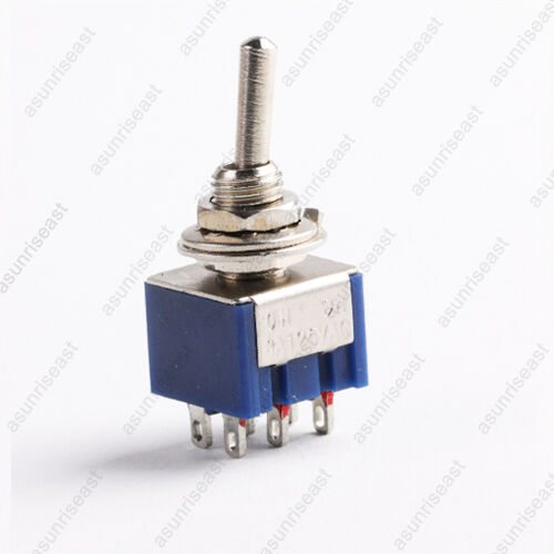 5pcs mini toggle switch dpdt on on two position blue 6a. Black Bedroom Furniture Sets. Home Design Ideas