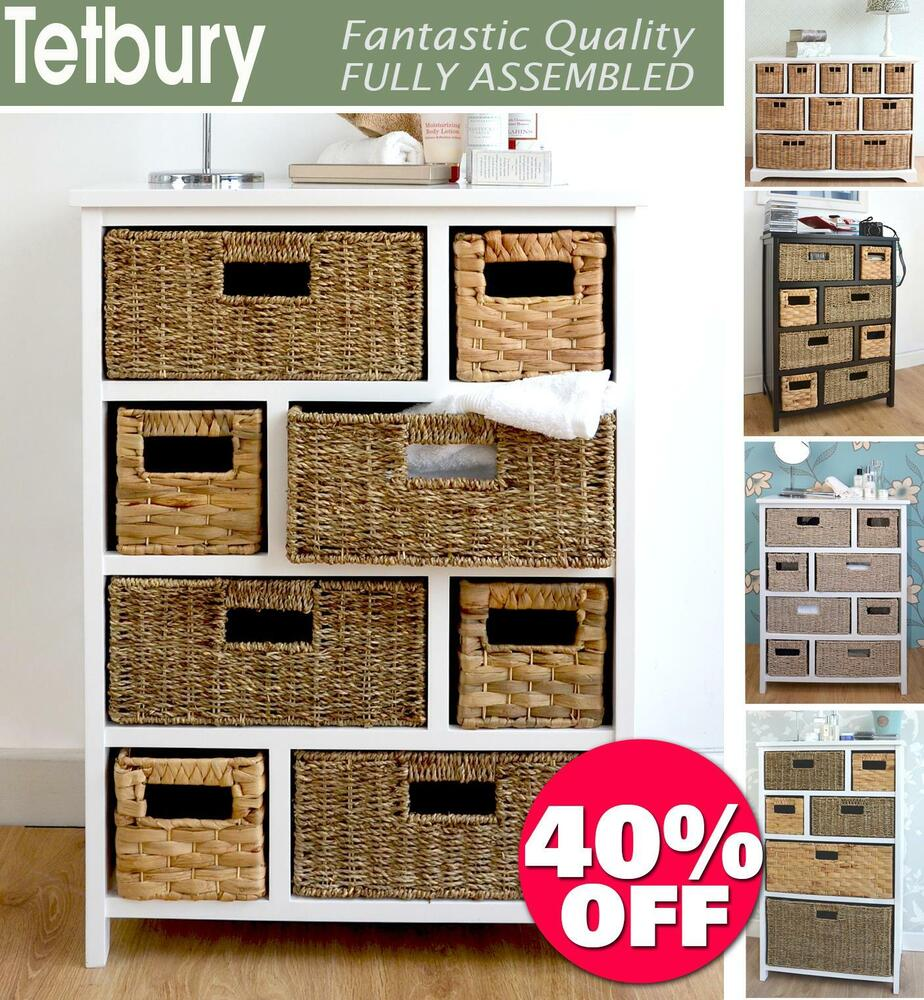 Tetbury white storage unit with 5 drawers bedroom furniture direct - Tetbury Large Storage Unit With Wicker Baskets Bathroom Storage Hallway Storage Ebay