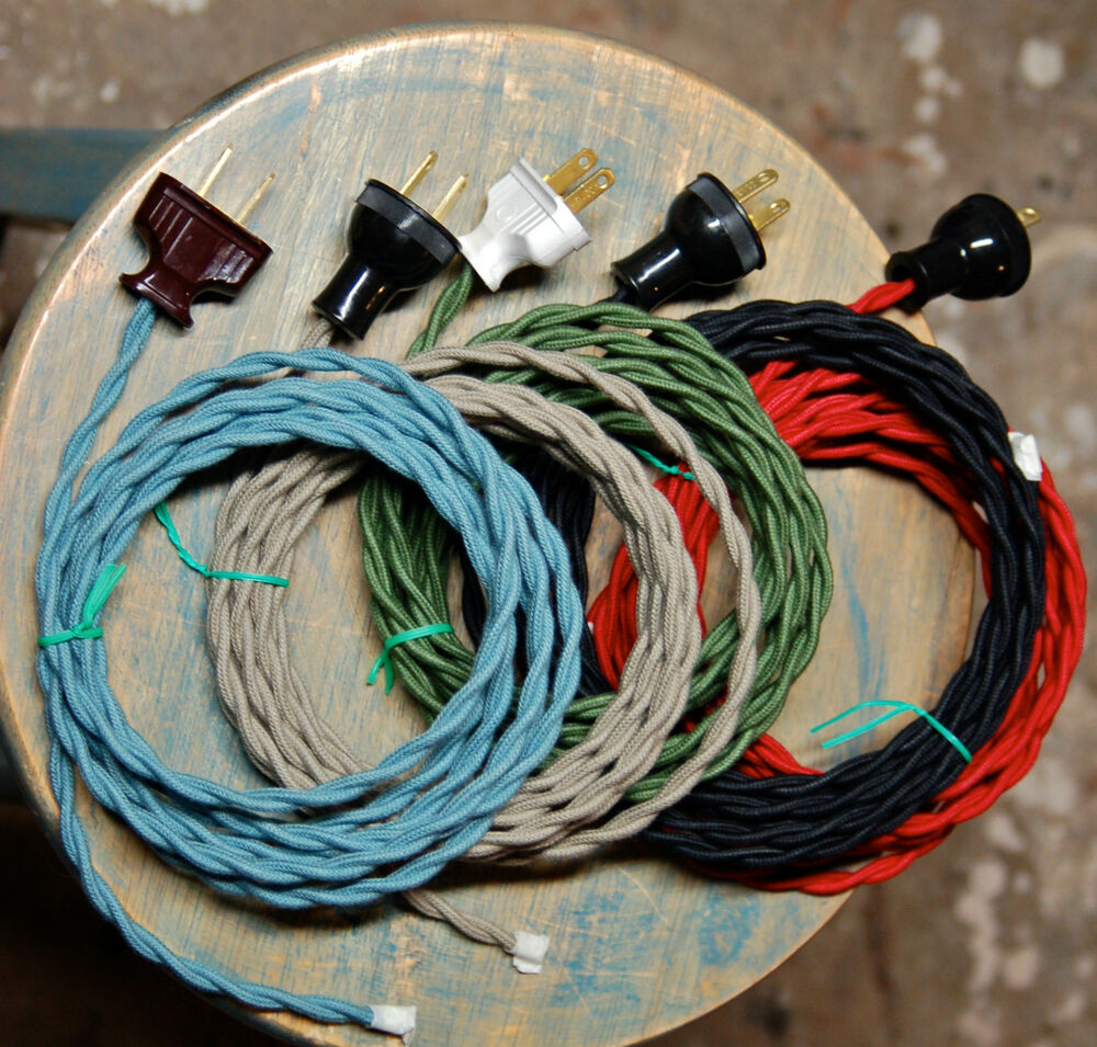 twisted cloth covered wire plug vintage light rewire kit lamp cord. Black Bedroom Furniture Sets. Home Design Ideas