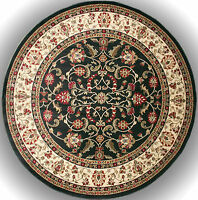 8 Foot Round Area Rug Rugs New Large Huge Traditional Border Ebony Black Beige