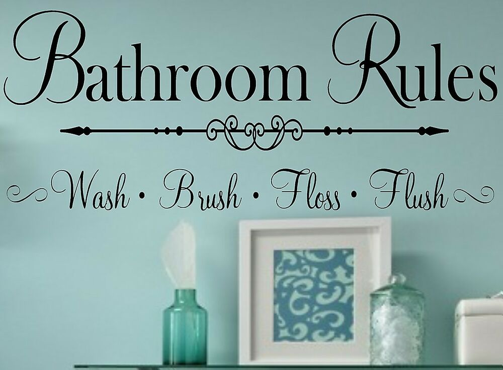 Bathroom Rules Wall Decor : Bathroom rules vinyl wall decal lettering home decor