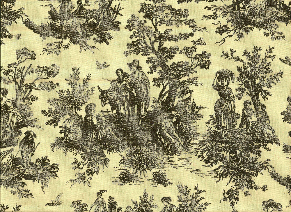 Elegant french country cotton toile black cream upholstery for French toile fabric