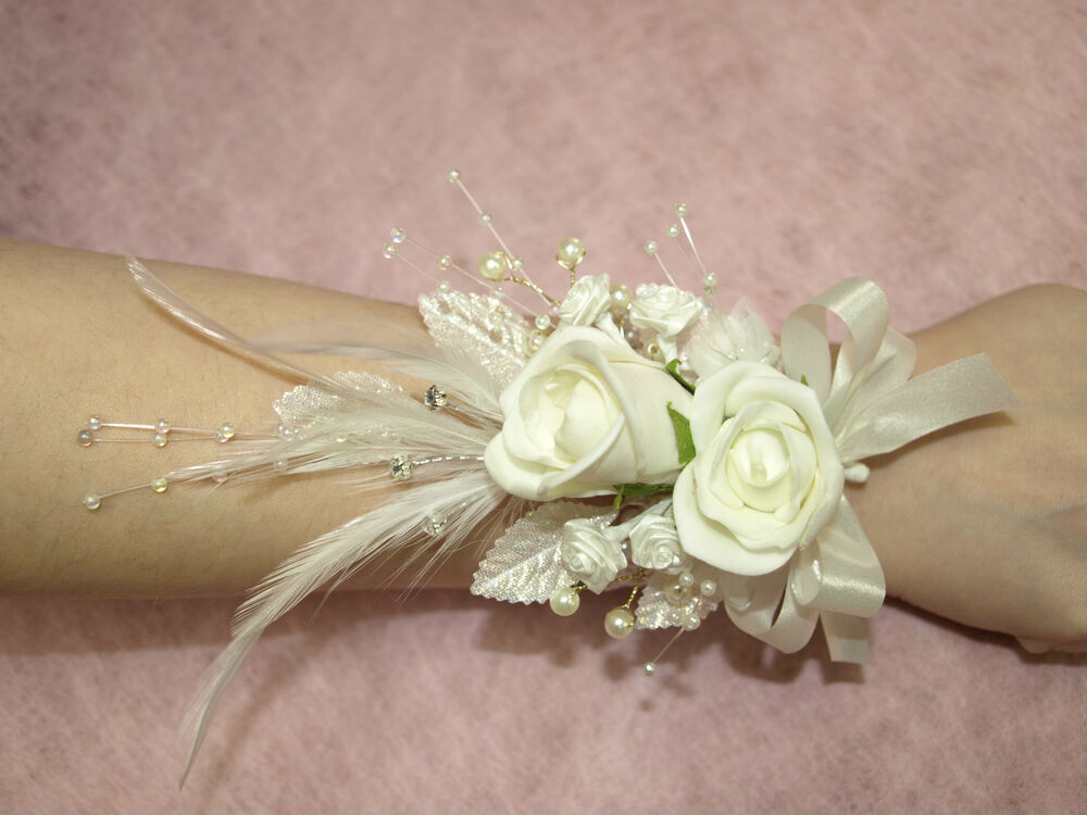 Wedding Flowers And Corsages : Ladies wrist corsage in ivory wedding flowers bridal
