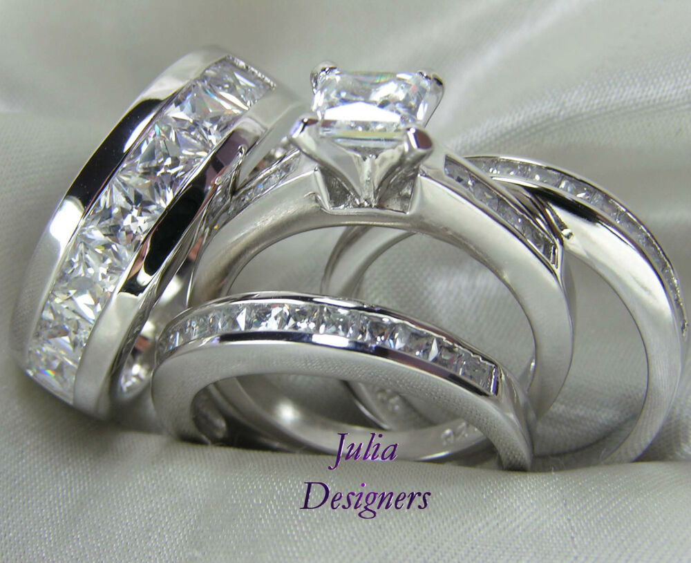 His hers engagement wedding band ring set sterling silver for Ebay diamond wedding ring sets