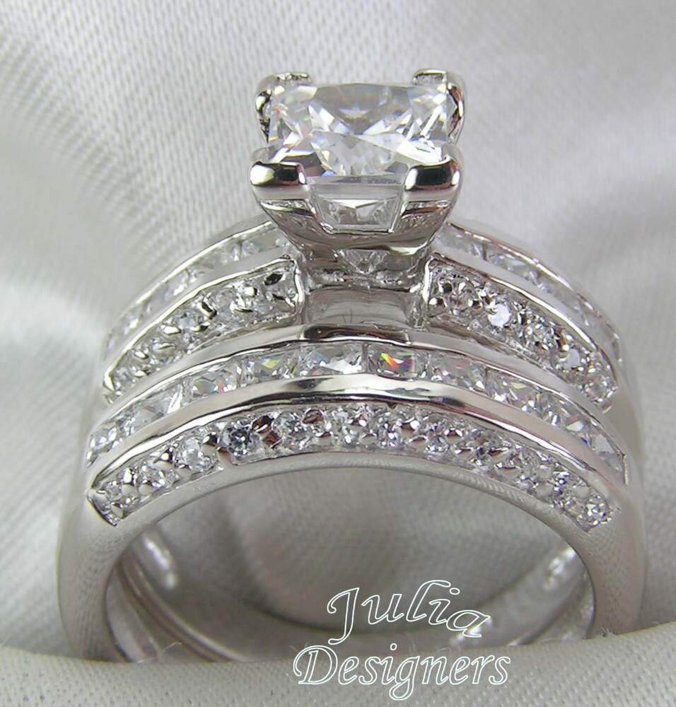princess cut engagement wedding ring set sterling. Black Bedroom Furniture Sets. Home Design Ideas