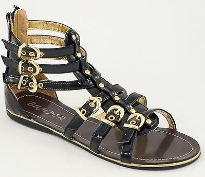 Gladiator Designer Inspired Roman Ankle Strappy Flat Black