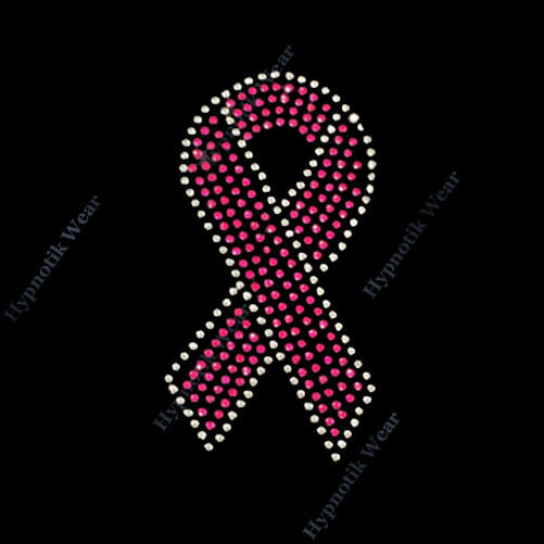 breast cancer awareness pink rhinestone silvertone rhinestone transfer quot pink breast cancer ribbon quot 2 sizes