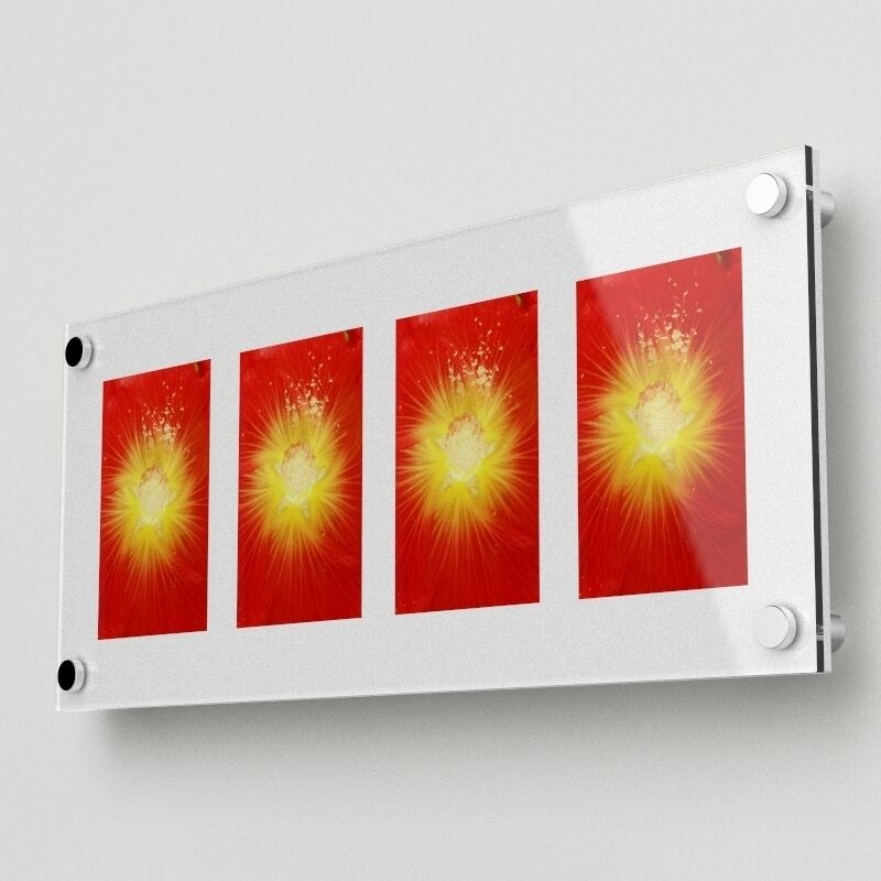 acrylic wall mounted multi picture frame holds four 4 x6 images 0011 034 ebay. Black Bedroom Furniture Sets. Home Design Ideas