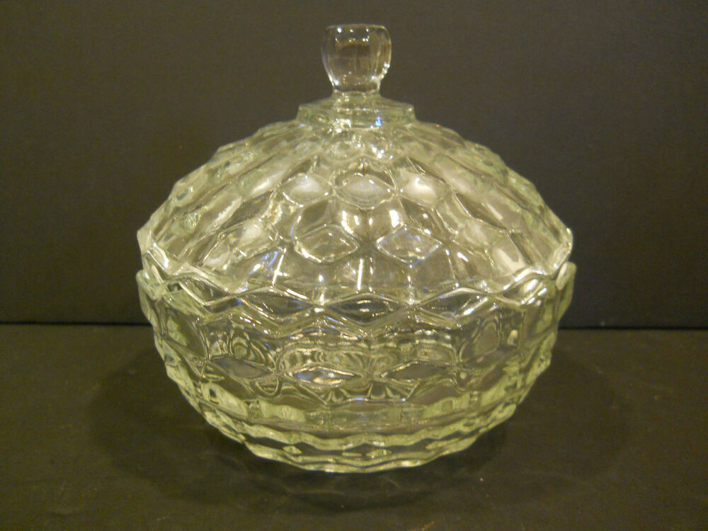 PRESSED GLASS CANDY DISH W/ LID COVERED BOWL CLEAR ...