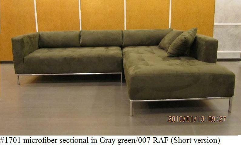 2pc modern microfiber tufted sectional sofa 1701 gray for Small tufted sofa