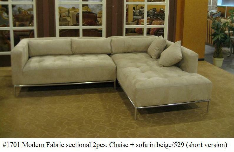 2pc modern fabric tufted sectional sofa 1701 in beige for Small tufted sofa