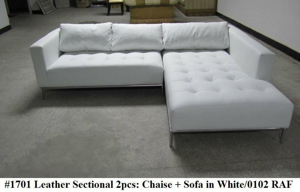 2pc modern contemporary white leather sectional sofa 1701 short version ebay. Black Bedroom Furniture Sets. Home Design Ideas