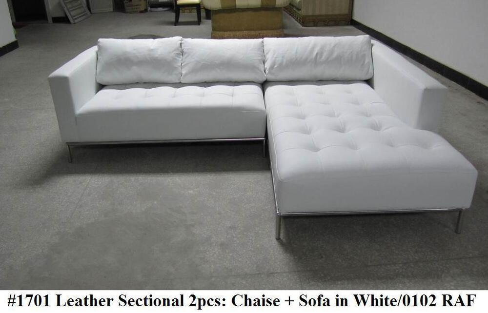 white leather couch 2pc modern contemporary white leather sectional sofa 1701 21989 | s l1000