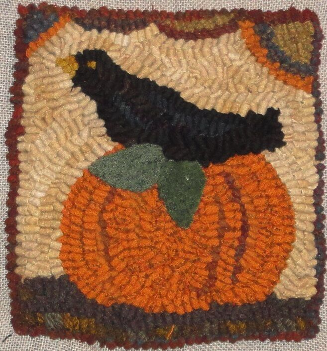 PUMPKINS AND CROW RUG IN A DAY LINEN PATTERNPRIMITIVE