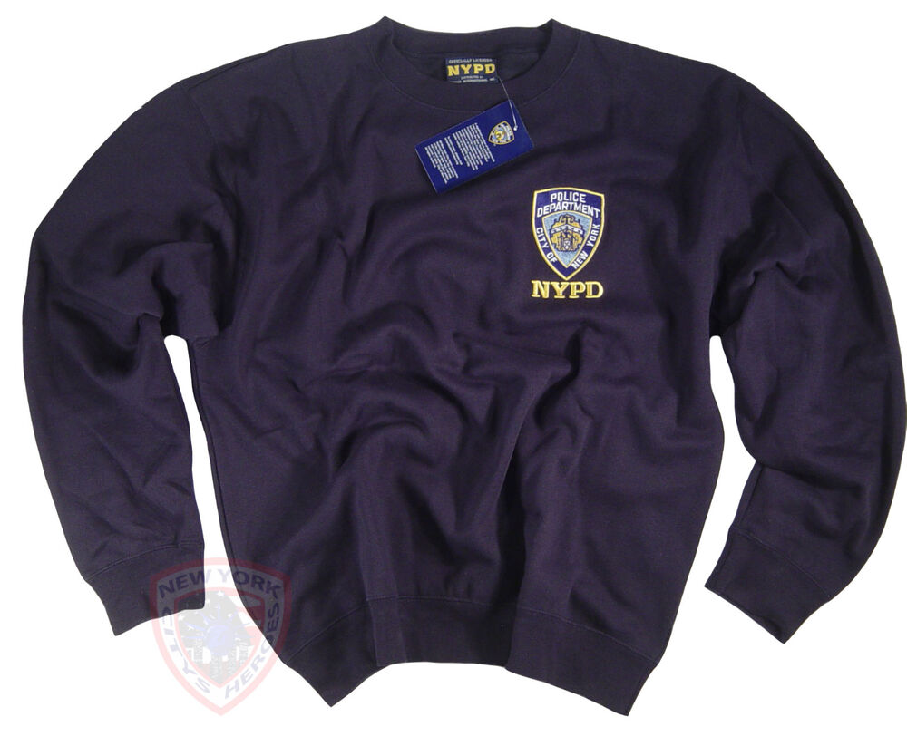 80c3e9b8 Details about NYPD Shirt Sweatshirt Officially Licensed by The New York  City Police Dept