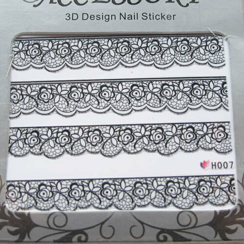 3D Nail Art Lace Stickers Decals Black Lace Design Nail