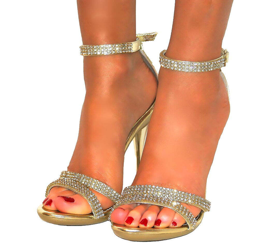 Ladies Diamante Gold Strappy Ankle Sandals Shoes Heels