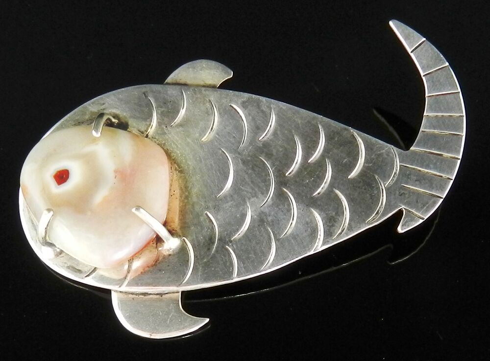 Vintage Designer Signed JEZ ORIGINALS Sterling Silver FISH