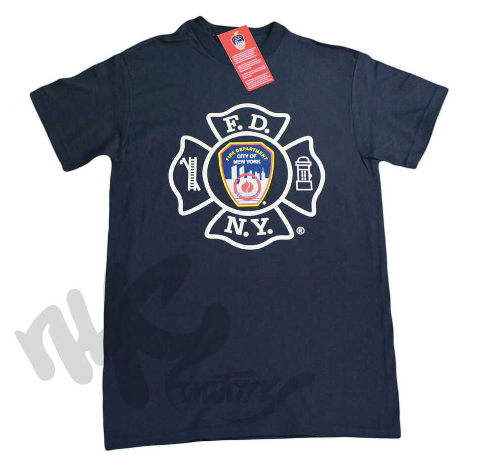 MENS NAVY FDNY T-SHIRT FIRE DEPT NEW YORK CITY OFFICIAL ...