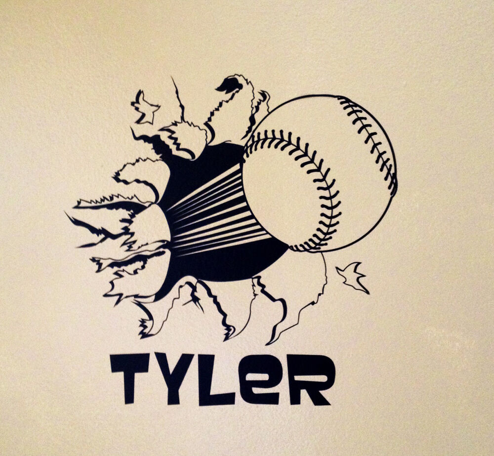 Baseball Bursting Through Wall W Personalized Name Vinyl