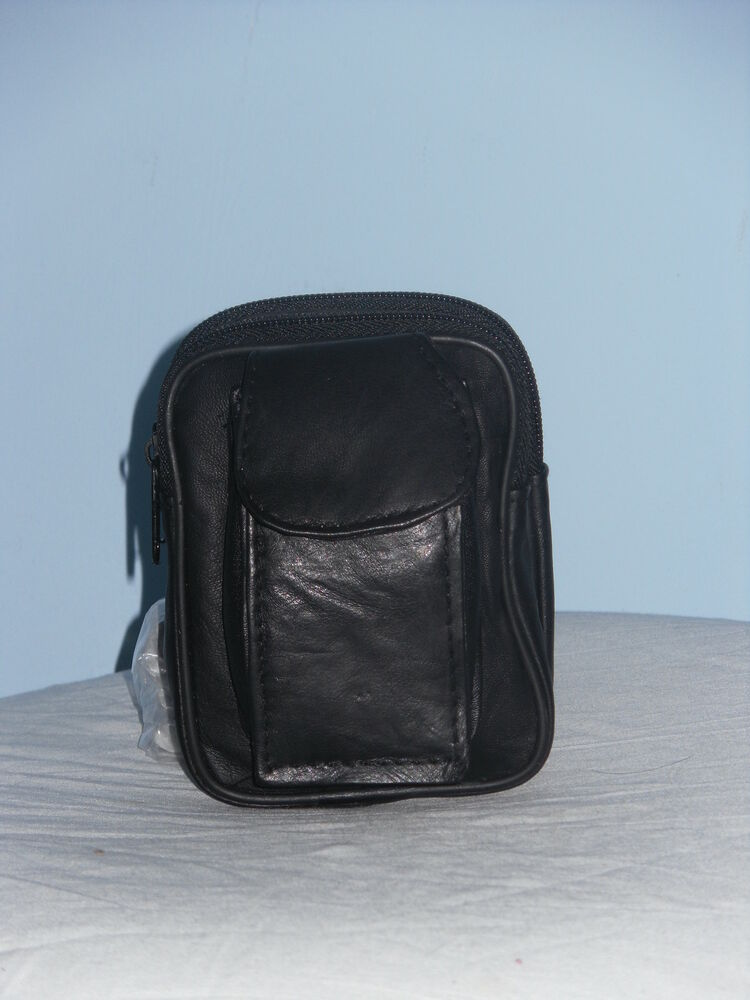 a soft leather belt purse bag with zip pockets and