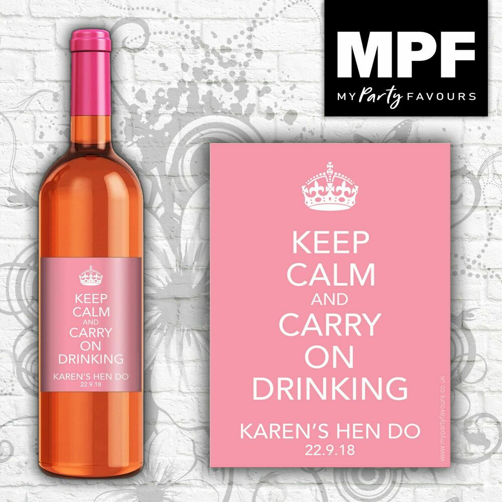 Personalised Keep Calm And Drink Wine Bottle Label Labels: 9 Personalised Wine Bottle Labels