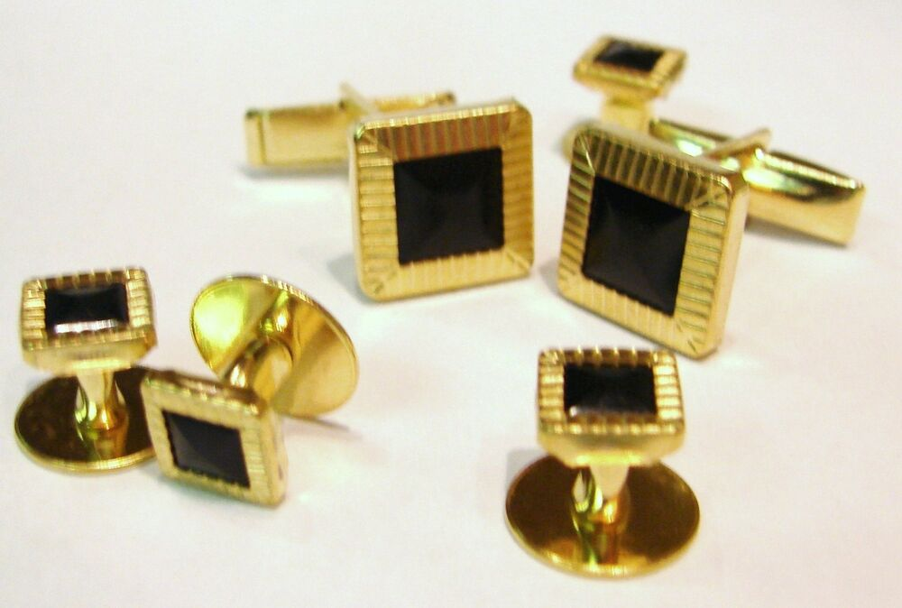 New mens gold black square cuff links shirt studs formal for Stud sets tuxedo shirts