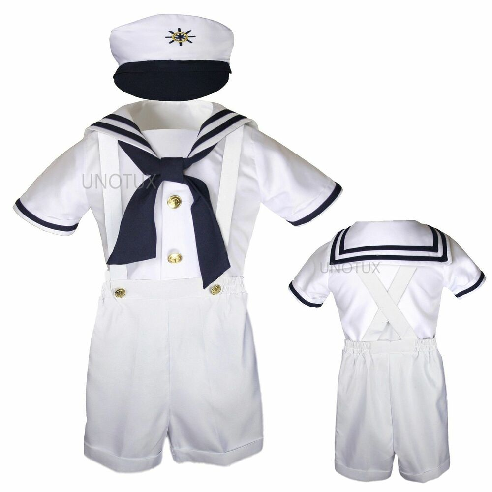 infant toddler boy white satin sailor wedding party outfit