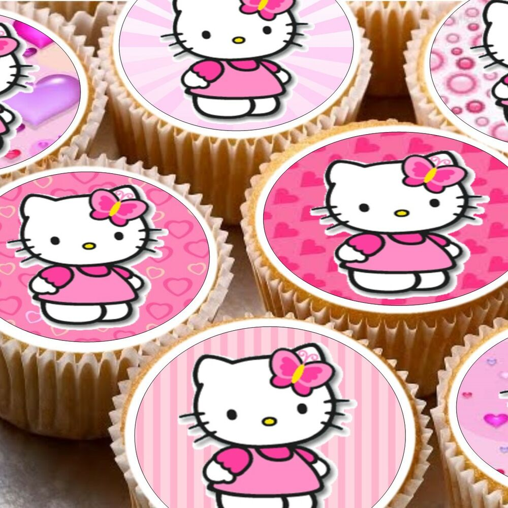 Deco Cupcake Hello Kitty : 24 Edible cake toppers decorations Hello Kitty Pink ...