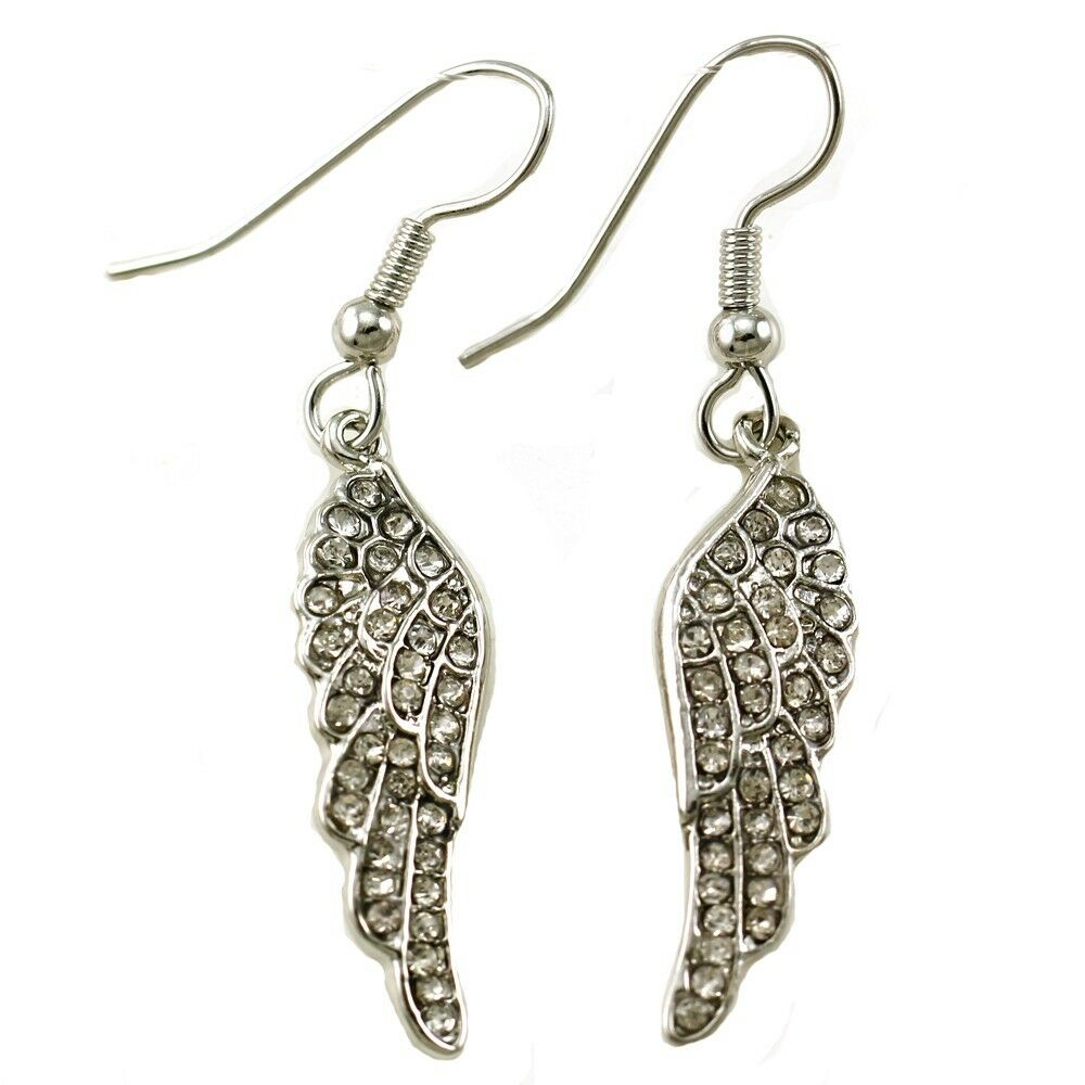 Silver Clear Indian Costume Jewellery Necklace Earrings: White Feather Angel Wing Dangle Earring Silver Tone Clear