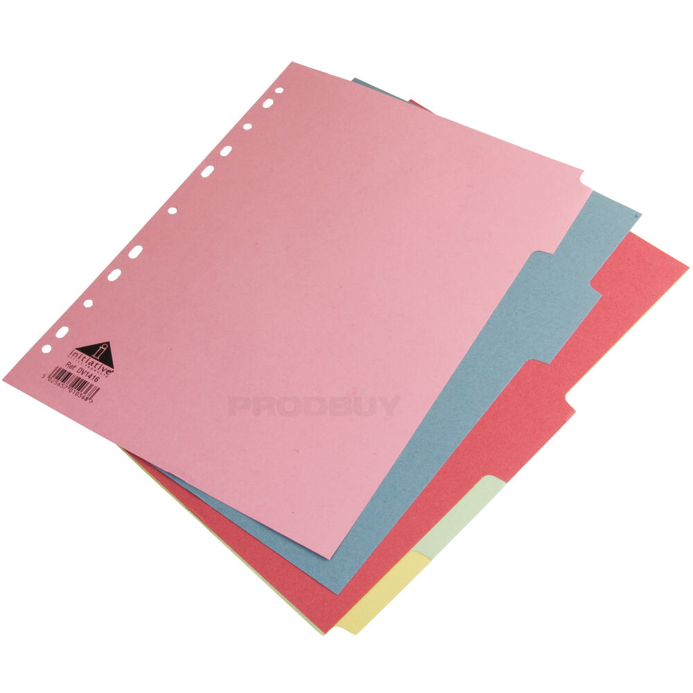 5 X A4 Ring Binder File Index Dividers 5 Part Multi