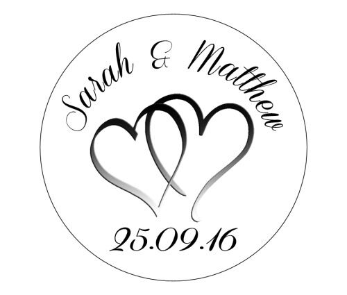 Round Wedding Invitation Label 1: 70 Personalised Round Wedding Stickers/Labels 3 FOR 2
