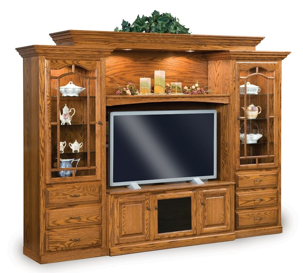 Amish tv entertainment center solid oak wood media wall Wall unit furniture