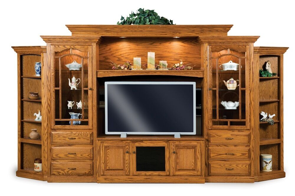 Amish hoosier tv entertainment center wall unit solid oak wood traditional ebay Wooden entertainment center furniture