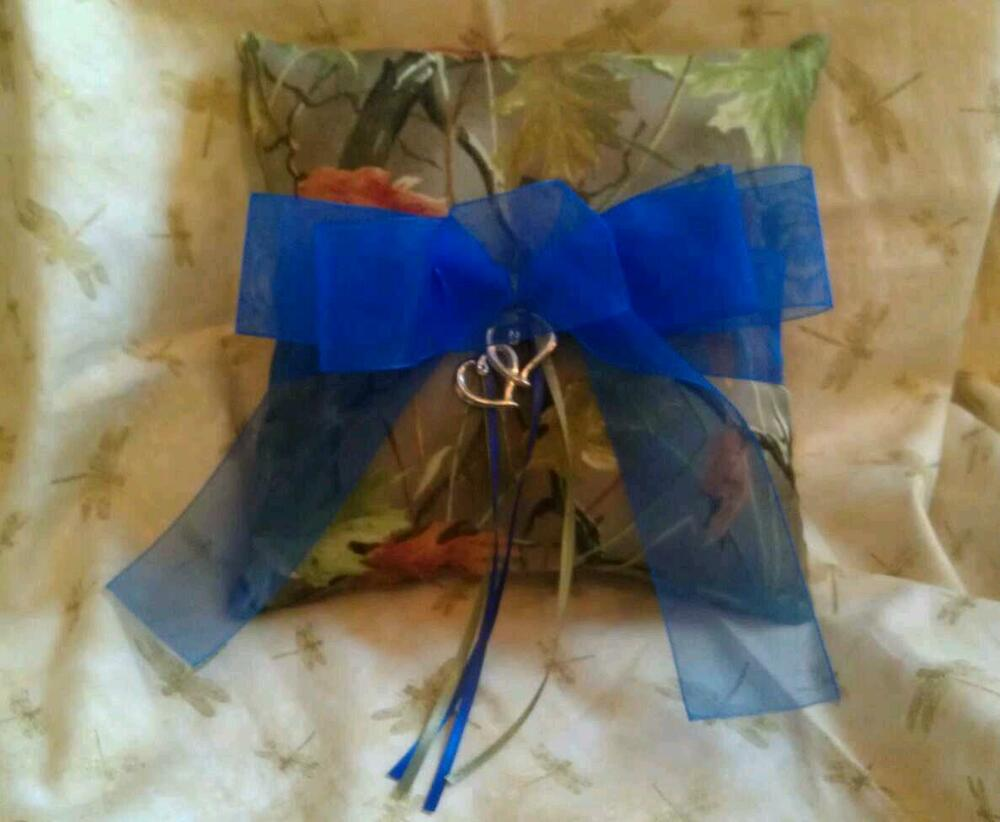Realtree Camo Ring Bearer Pillow With Blue One Of A Kind