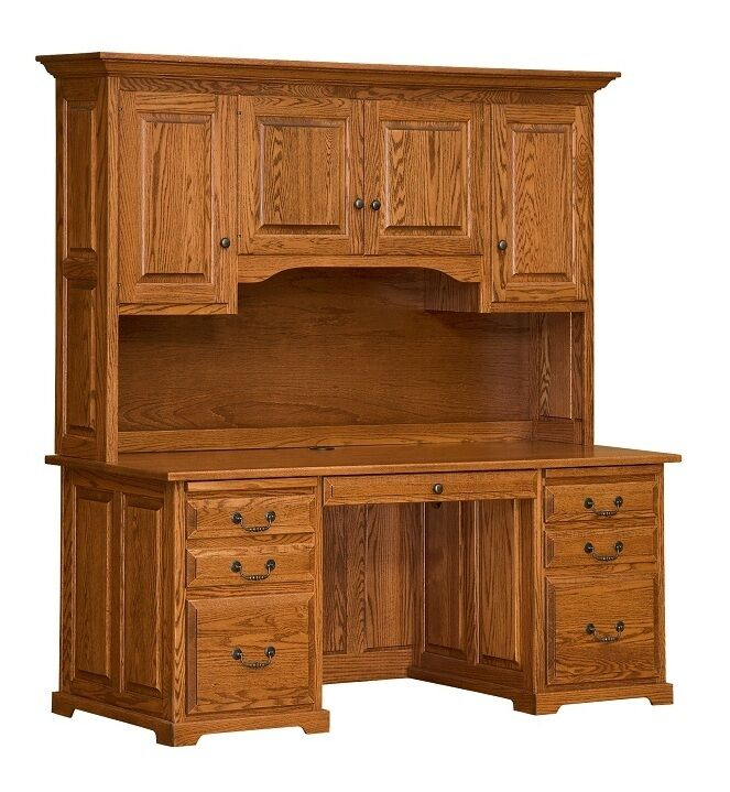 "Amish 70"" Executive Computer Desk Hutch Home Office Solid Wood Oak"