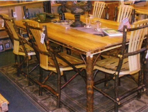 Pc amish rustic dining set table chairs bench cabin