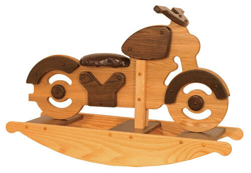 Rocking Toys For Boys : Unique kids rocking toy motorcycle wooden solid oak wood