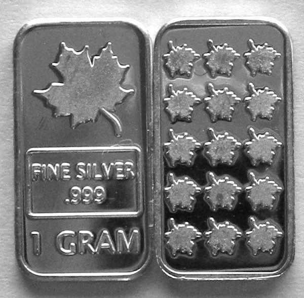 100 1 Gram 999 Pure Silver Maple Leaf Bars Ebay
