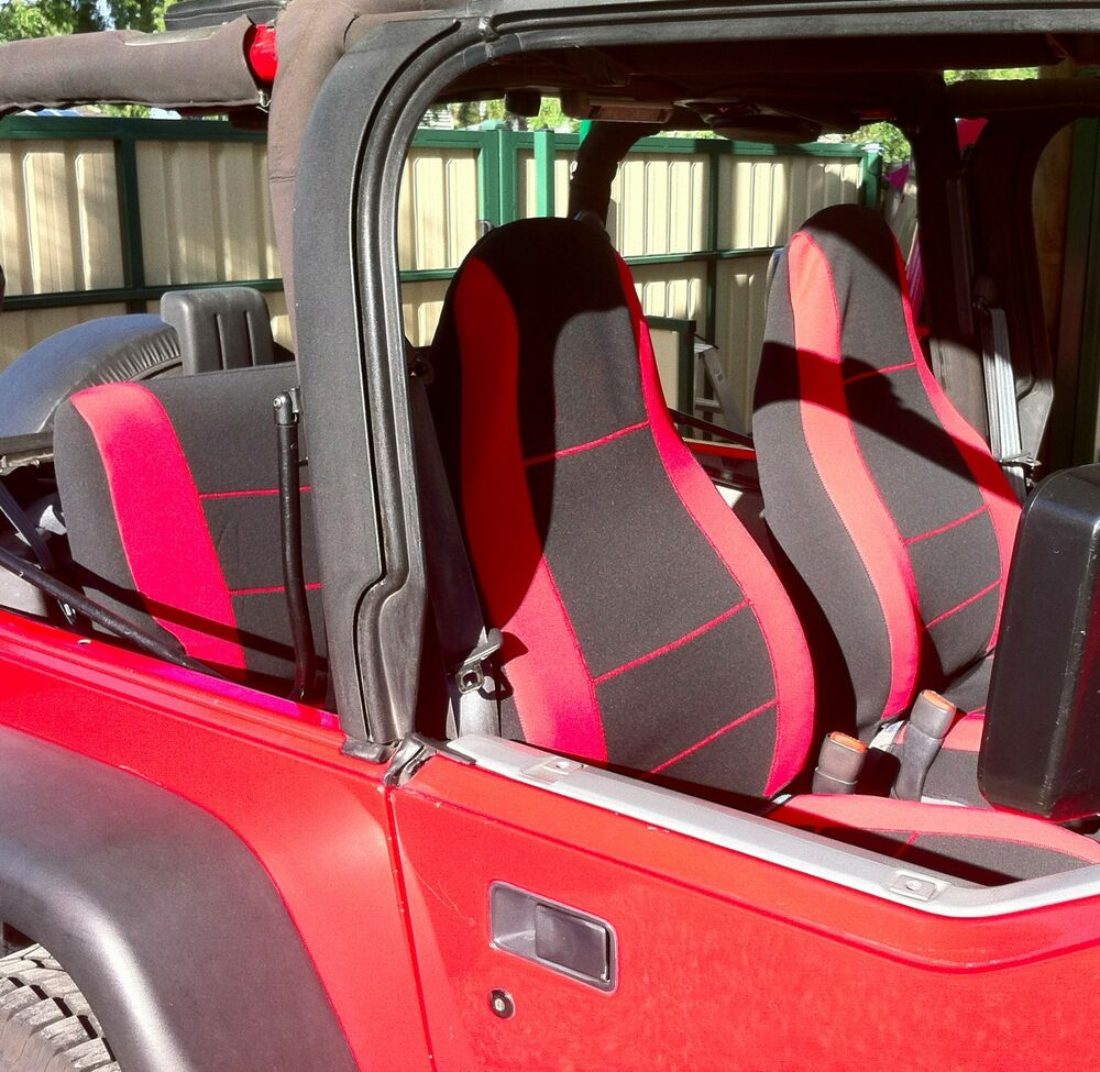 Jeep Wrangler 1987 1996 Neoprene Red Black Full Set Custom
